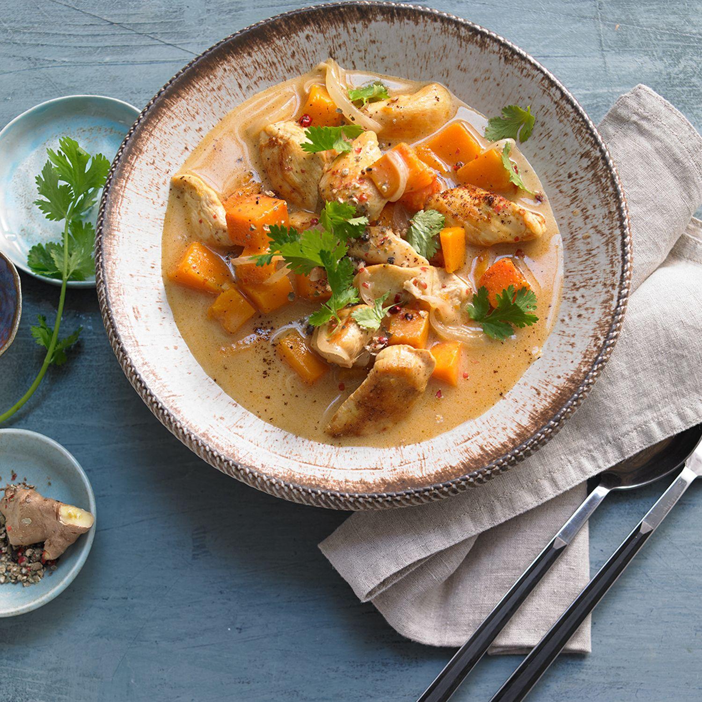 Hensslers Curry-Kokoshähnchen mit Kürbis