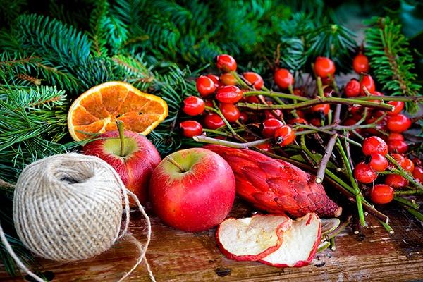 Tannenzweige, Baumwollgarn und getrocknete Früchte wie Apfel- und Orangenscheiben liegen bereit zum Basteln.