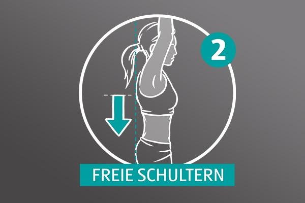 """Gezeichnete Frau auf grauem Hintergrund, sie nimmt die Arme hoch, ein Pfeil zeigt an ihrem Rücken nach unten, zu lesen ist eine Zwei und """"Freie Schultern""""."""