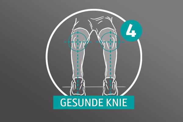 """Gezeichnete Beine von vorn auf grauem Hintergrund, die Knie werden angewinkelt, zu lesen ist die Zahl Vier und """"Gesunde Knie""""."""