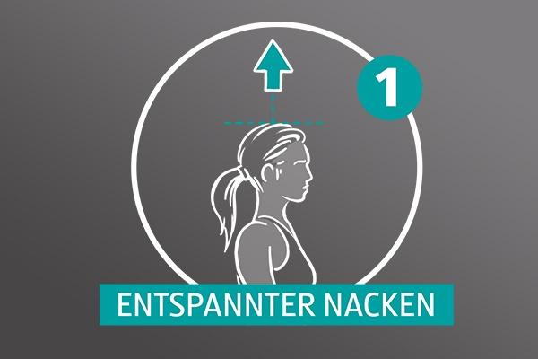 """Gezeichnete Frau auf grauem Hintergrund, über ihrem Kopf zeigt ein Pfeil nach oben, es ist die Zahl Eins und der Text """"Entspannter Nacken"""" zu lesen."""