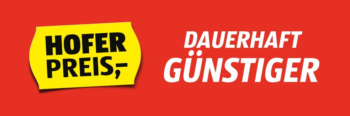 """Roter Hintergrund mit Text """"HOFER Preis DAUERHAFT GÜNSTIGER"""