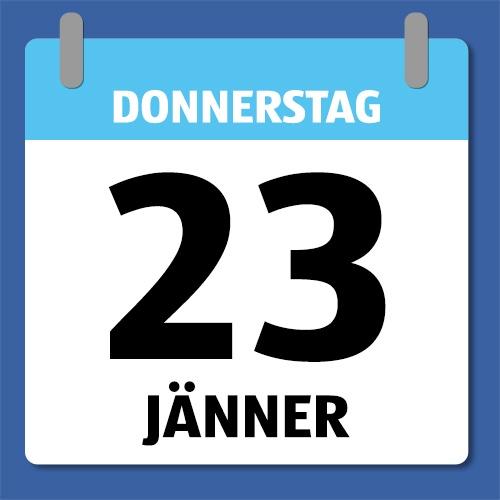Ein Kalenderblatt, dass Donnerstag den 23. Jänner abbildet.
