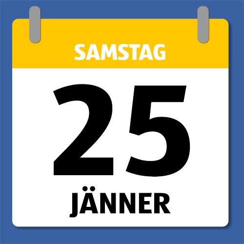 Ein Kalenderblatt, dass Samstag den 25. Jänner anzeigt.