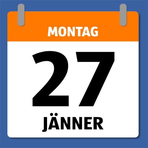 Ein Kalenderblatt, dass Montag 27. Jänner anzeigt.