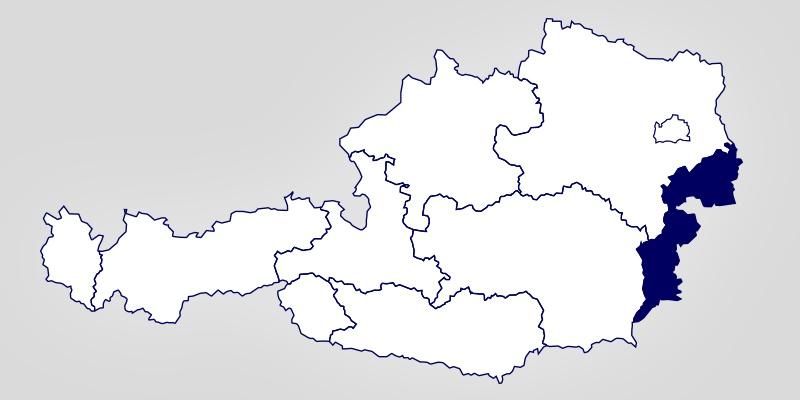 Eine Österreich-Landkarte auf der das Burgenland hervorgehoben ist.