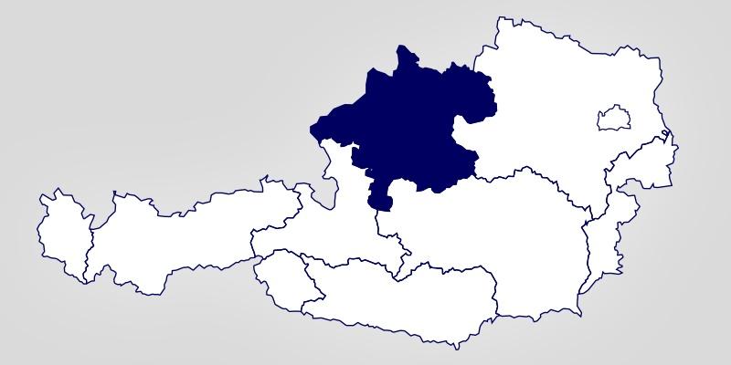 Eine Österreich-Landkarte auf der Oberösterreich hervorgehoben ist.