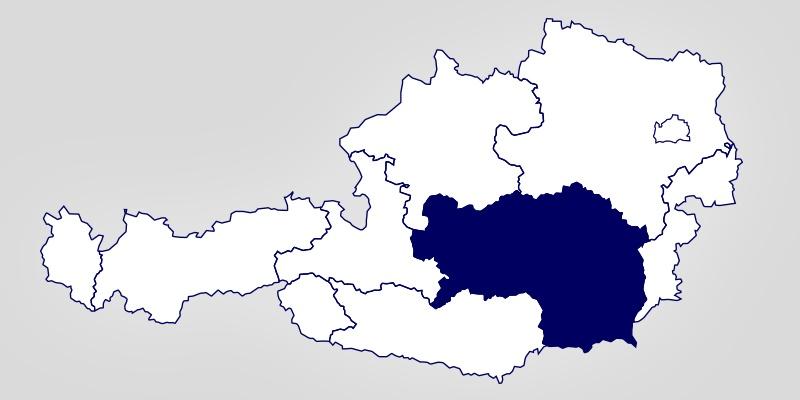 Eine Österreich-Landkarte auf der die Steiermark hervorgehoben ist.