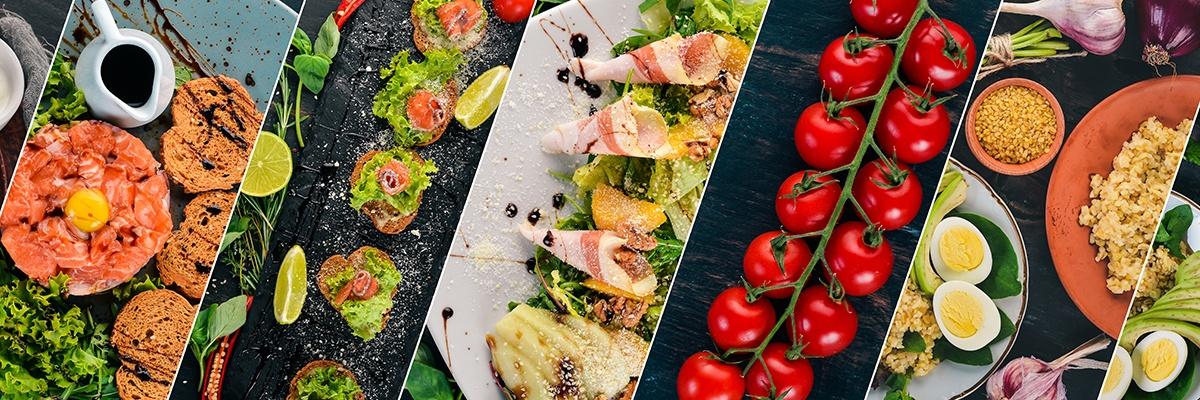 Das Bild ist in mehrere Abschnitte geteilt: Lachs mit Brötchen, belegte Brötchen auf dunklem Untergrund. Ein Teller mit garniertem Salat, Rispentomaten und ein Teller mit Polenta.