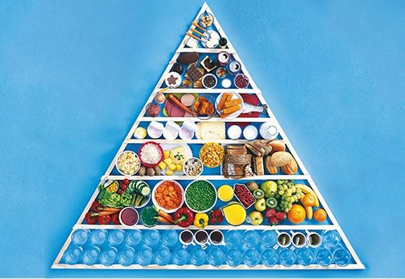 Die Ernährungspyramide auf blauem Hintergrund.