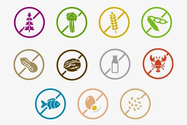 Mehrere runde Symbole für Nahrungsmittel auf weißem Hintergrund. Die Symbole sind durchgestrichen.