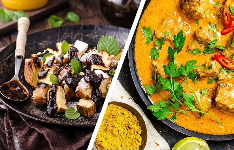 Zwei Speisen getrennt abgebildet: Mediterrane Gemüsepfanne links und Curry rechts.