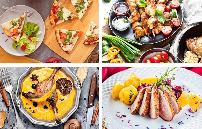 Vier verschiedene Gerichte unterteilt in vier Kacheln: Selbstgemachte Pizza, Spieße, Suppe und Braten.