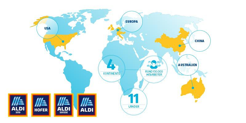 Weltkarte mit Markierungen, die anzeigen, wo ALDI international und national überall vertreten ist.