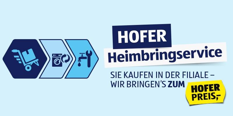 HOFER Heimbringserviceablauf mit dessen Überschrift zum HOFER PREIS platziert auf einem hellblauen Hintergrund.