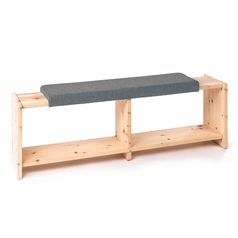 Sitzbank aus Zirbenholz, Grau