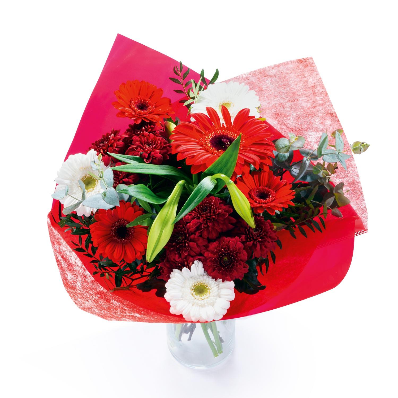 Exklusiver Floristenstrauß, Rot-Weiß