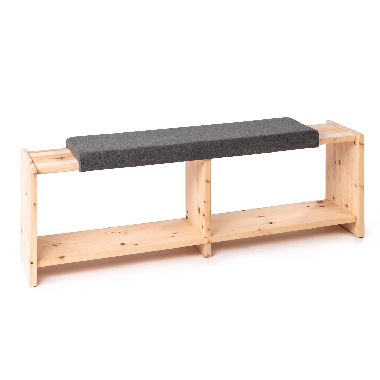 Sitzbank aus Zirbenholz, Blaugrau