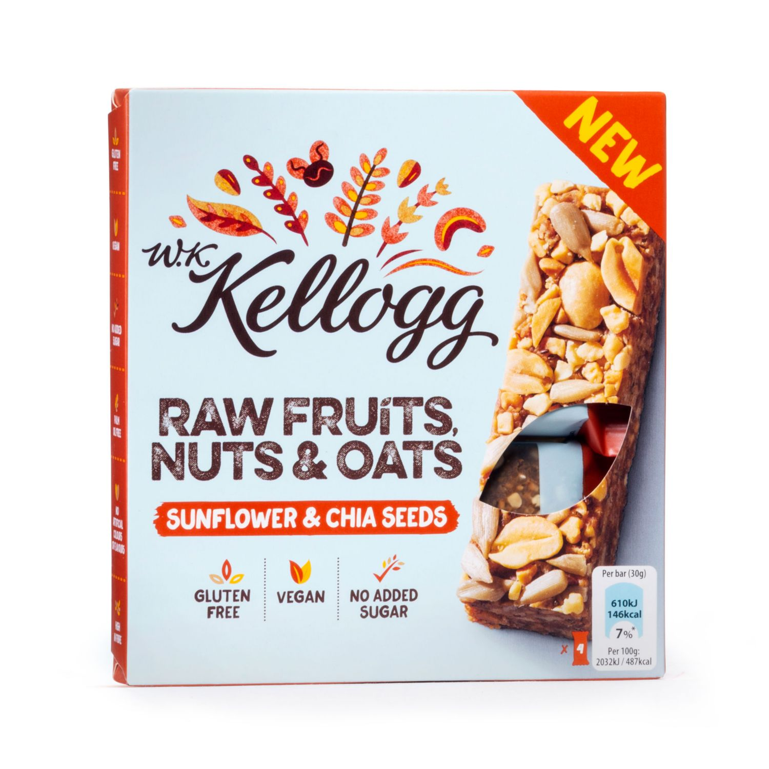 "KELLOGG'S Riegel ""no added sugar"""