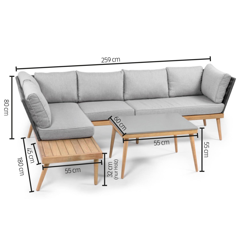 "GARDENLINE Lounge-Set ""Rope"" inkl. Mittelteil"