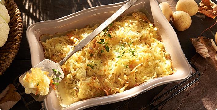 Geschmorter Blumenkohl mit Kartoffelkruste