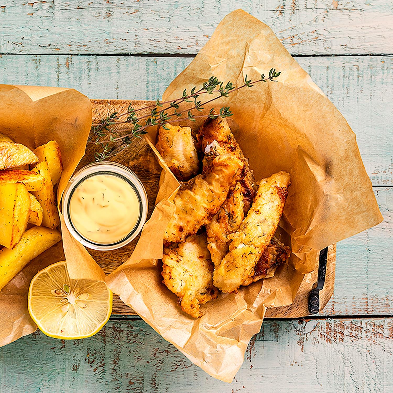 Fisch & Chips mit Currymayonnaise