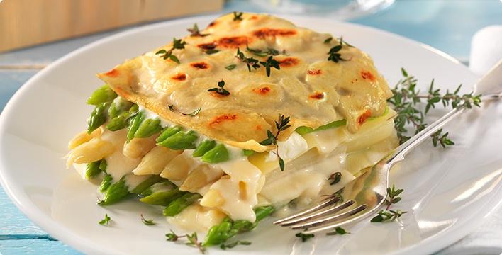 Spargellasagne mit Mozzarella