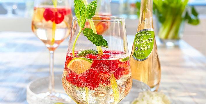 Himbeer-Holunder-Cocktail