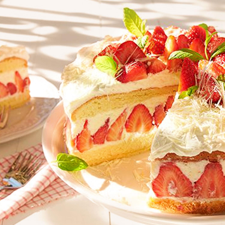Erdbeer-Torte mit weißer Mousse au Chocolat
