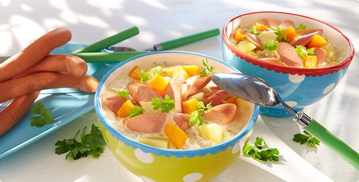 Würstchen im Möhren-Kartoffel-Durcheinander