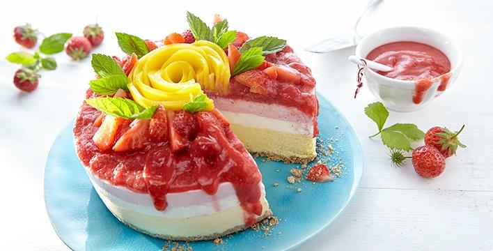 Mango-Erdbeer-Eistorte