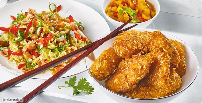 Chinakohlsalat mit Hähnchen und Erdnüssen
