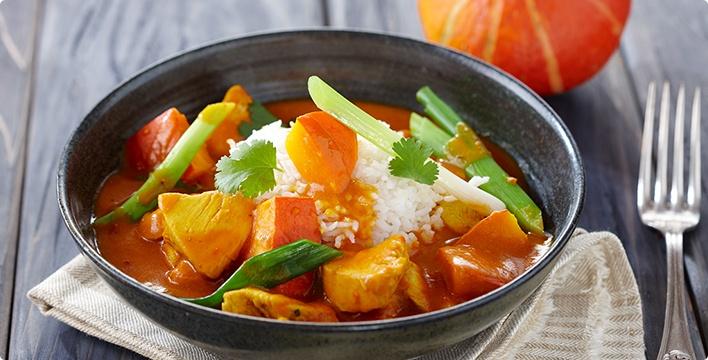 Kürbis-Hähnchen-Curry mit Basmatireis