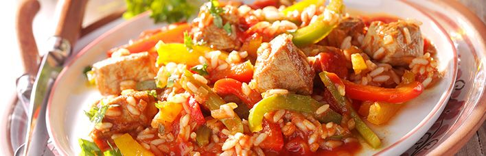 Reisfleisch mit Paprika nach Balkan Art