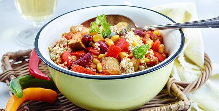 Veganes Chili con Quinoa