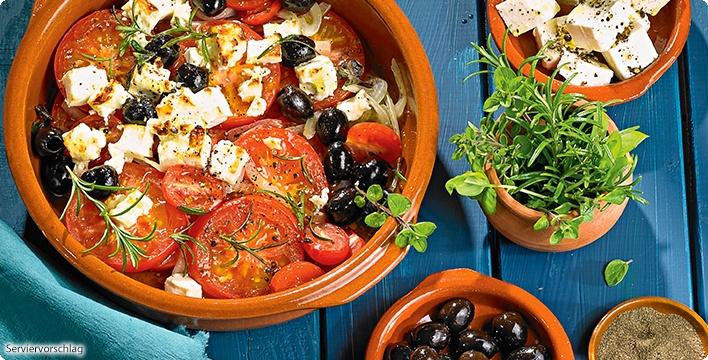 Spanisches Ofengemüse mit Oliven und Schafskäse