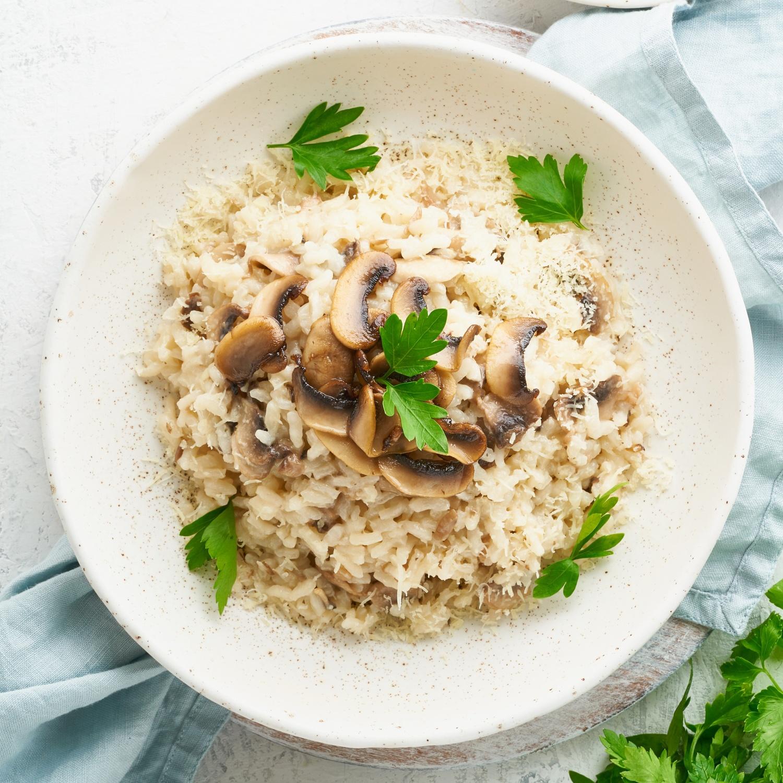 Risotto Grundrezept mit Pilzen und Bacon