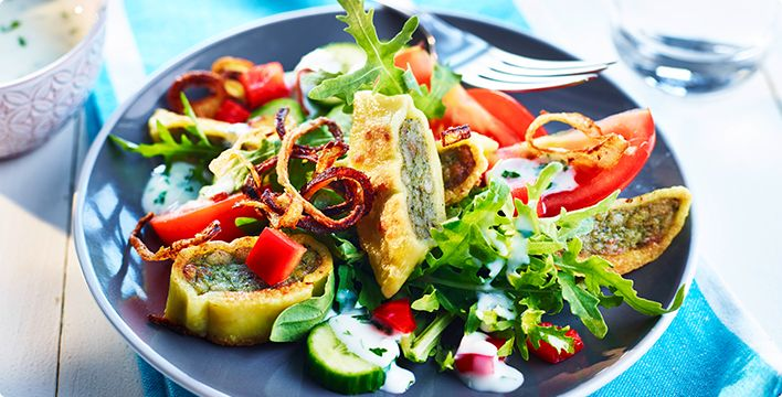Maultaschensalat mit selbstgemachten Röstzwiebeln