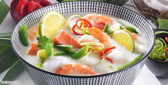 Asiatische Fischsuppe mit Kokos & Garnelen