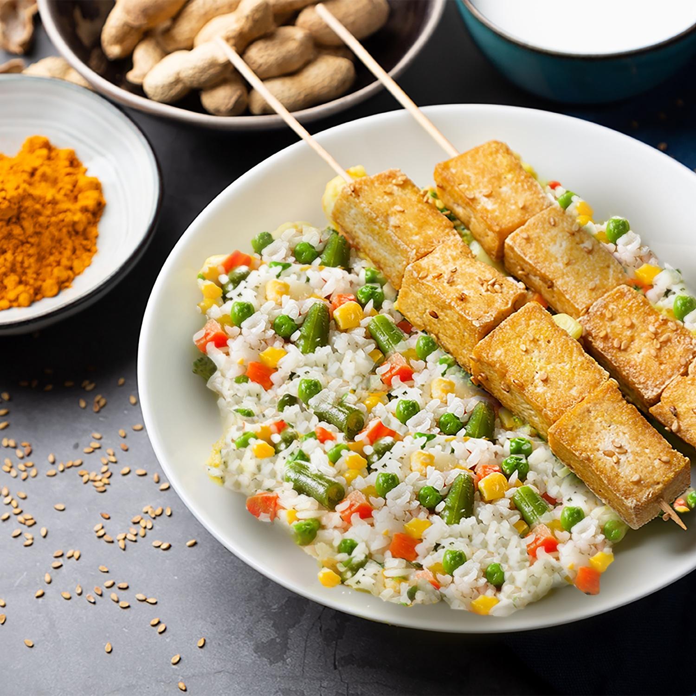 BIO Tofu auf frischem Gemüsereis