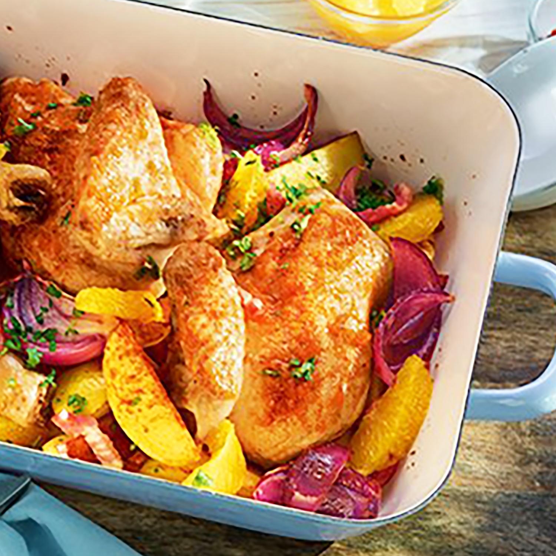 Orangen-Hähnchen mit Speck und Röstkartoffeln