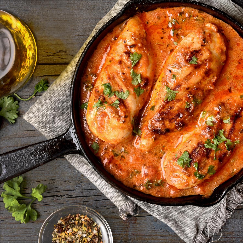 Hähnchen-Ofenschale Kräuter mit Erbsenreis