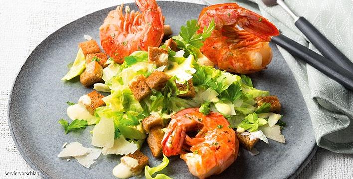Argentinische Rotgarnelen mit Caesar Salat und Röstbrot