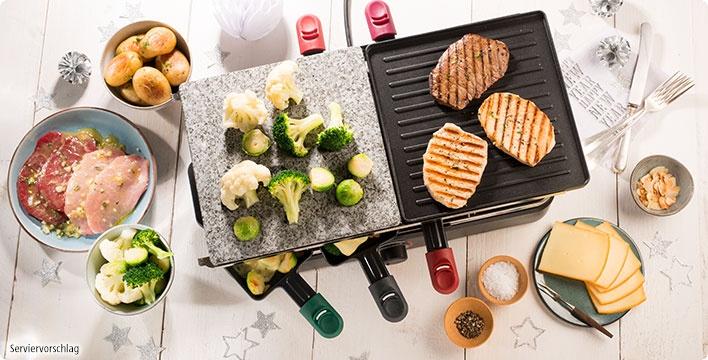 Raclette-Fleisch in Senfmarinade mit überbackenem Mandelkohl