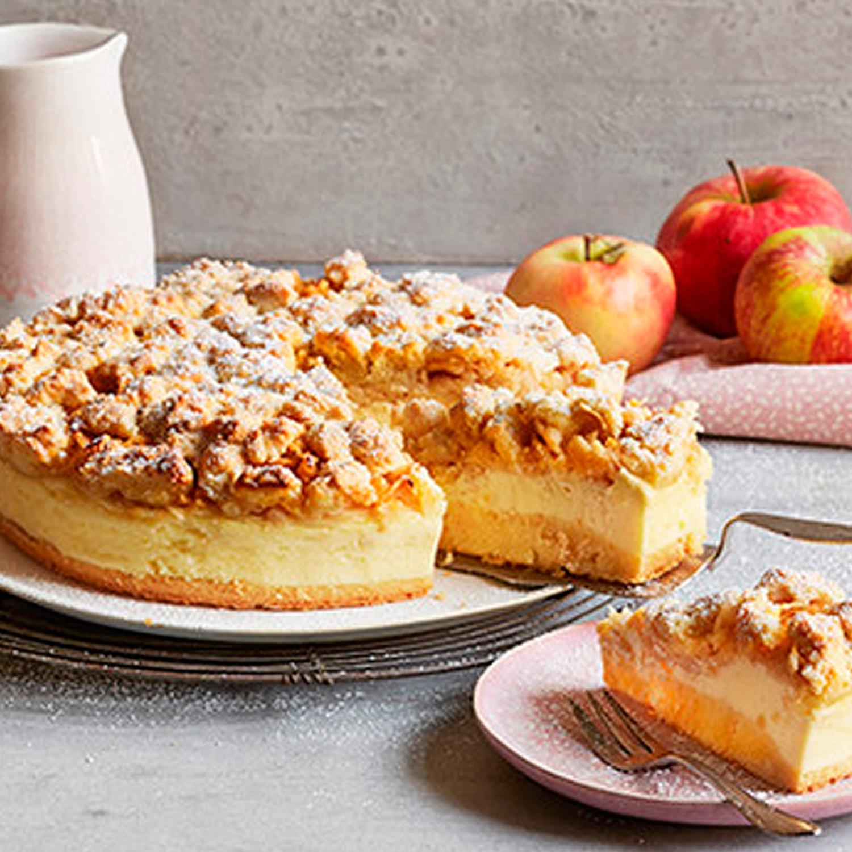 Apfel-Käsekuchen mit Vanillestreuseln