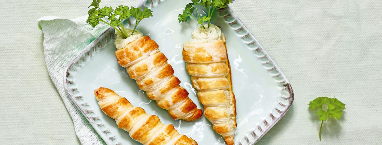 Blätterteig-Möhren mit Lachscreme