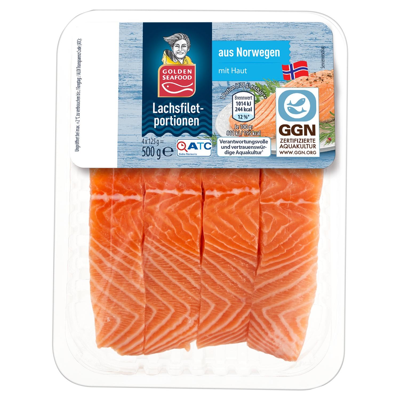 ALMARE Seafood Norwegisches Lachsfilet mit Haut 500g