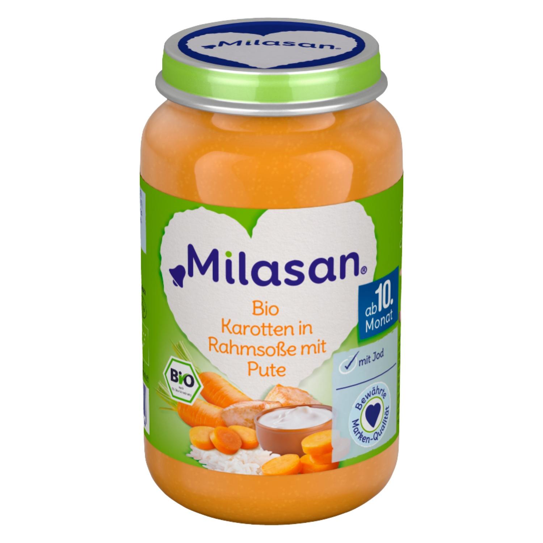 MILASAN Bio Karotten in Rahmsoße mit Pute 220g