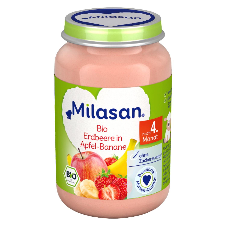 MILASAN Bio Erdbeere in Apfel-Banane 190g
