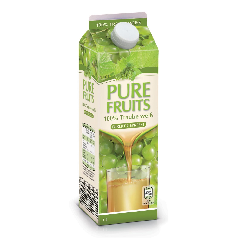 PURE FRUITS Traubendirektsaft, Weiße Traube